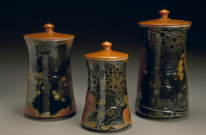 Shino Canister Set by Chapel Hill, NC-based potter Deborah Harris