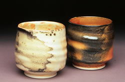 Two Shino Teabowls by Chapel Hill Artist Deborah Harris