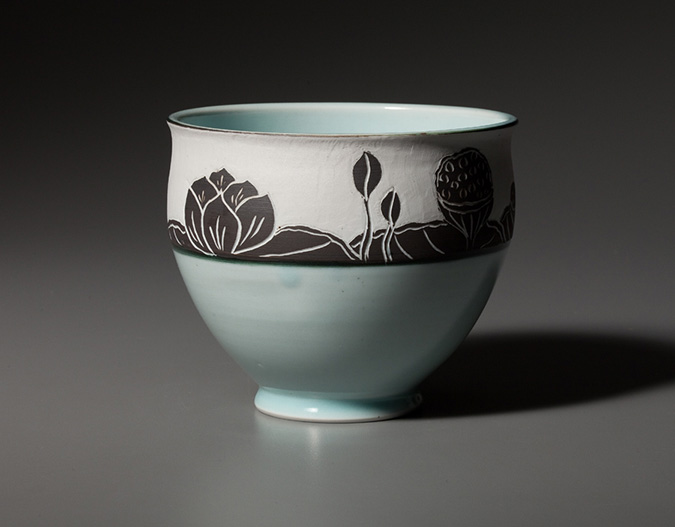 Lotus-Bowl-Vertical Pottery Bowl by Chapel Hill, NC-based potter Deborah Harris